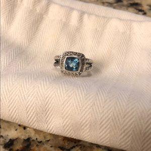 David Yurman Petite Albion Ring, Blue Topaz